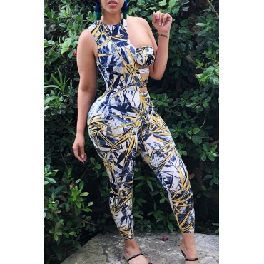 Lovely Sexy Round Neck Hollow-out Leaf Printed Yellow Polyester One-piece Jumpsuits
