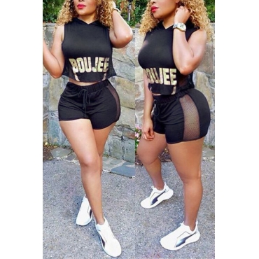 Lovely Fashion Hooded Collar Letters Printed Black Polyester Two-piece Shorts Set