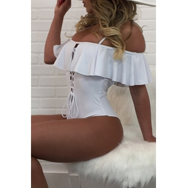 Lovely Pretty Bateau Neck Lace-up Flounce White Polyester One-piece Swimwears