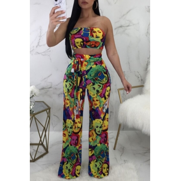 Lovely Sexy Bateau Neck Characters Printed Qmilch Two-piece Pants Set(With Belt)