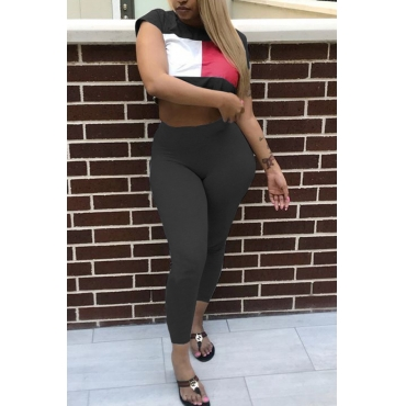 Lovely Leisure Round Neck Color Block Black Polyester Two-piece Pants Set