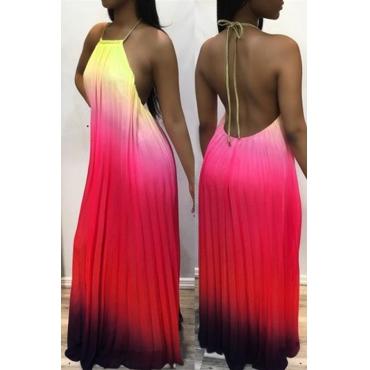 Lovely Fashion Spaghetti Strap Sleeveless Gradient Ramp Polyester Floor Length Dress