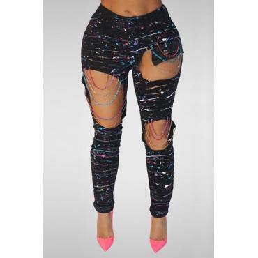 Lovely Trendy Mid Waist Chain Tassel Design Black Denim Pants