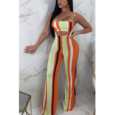 Lovely Sexy Striped Orange Polyester Two-piece Pants Set