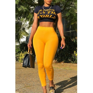 LovelyCasual Round Neck Letters Printed Yellow Blending Two-piece Pants Set