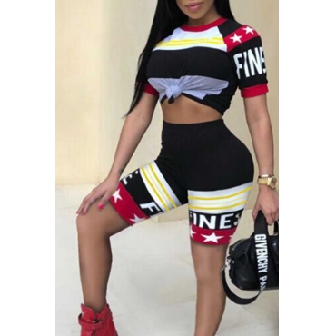 LovelyStylish Round Neck Letters Printed Red Twilled Satin Two-piece Shorts Set