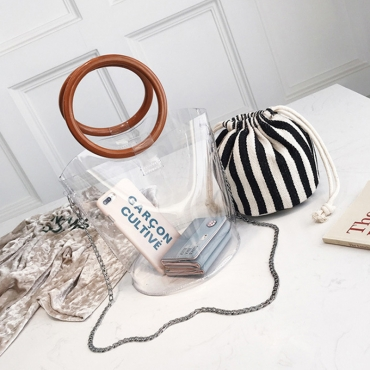 Lovely Fashion Striped Black PVC Clutches Bags