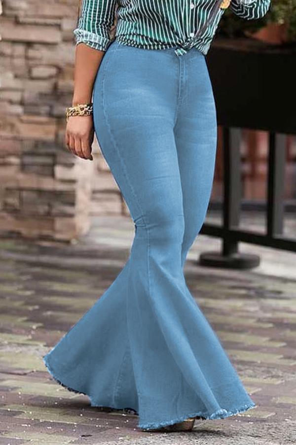 Encantadora Cintura Alta De Moda Acampanados Vaqueros Azul Marino Con Cremallera Vaqueros