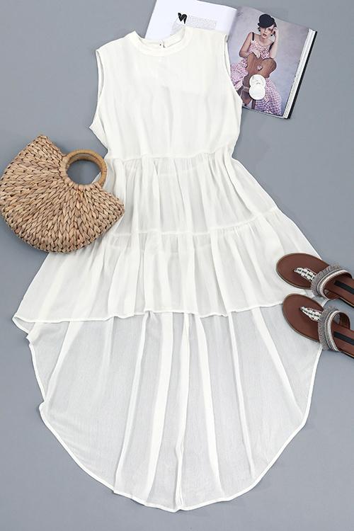 Lovely Casual Round Neck Irregular Design White Cotton Blend Mid Calf Dress