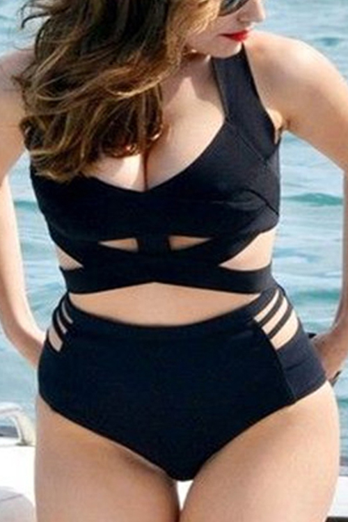 Lovely Sexy Hollow-out Black One-piece Swimwear