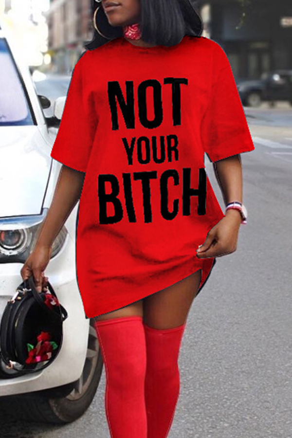 Lovely Casual Round Neck Letters Printed Red Cotton Blend Mini Dress