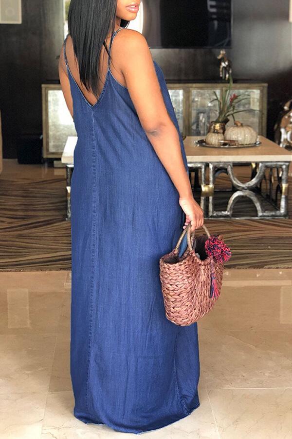 Lovely Lovelywholesale Stylish V Neck Deep Blue De