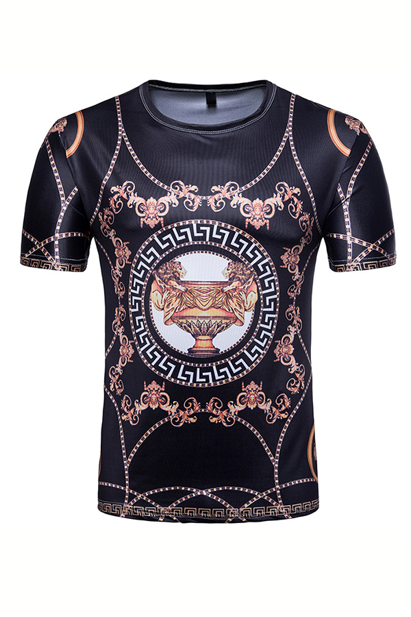 Lovely Casual Round Neck Printed Black Cotton Blends T-shirt for men