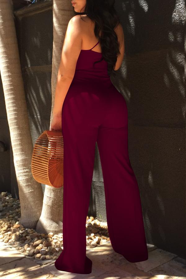 Lovely Elegant V Neck SleeveLess Purplish Red Polyester One-piece Jumpsuits(With Belt)