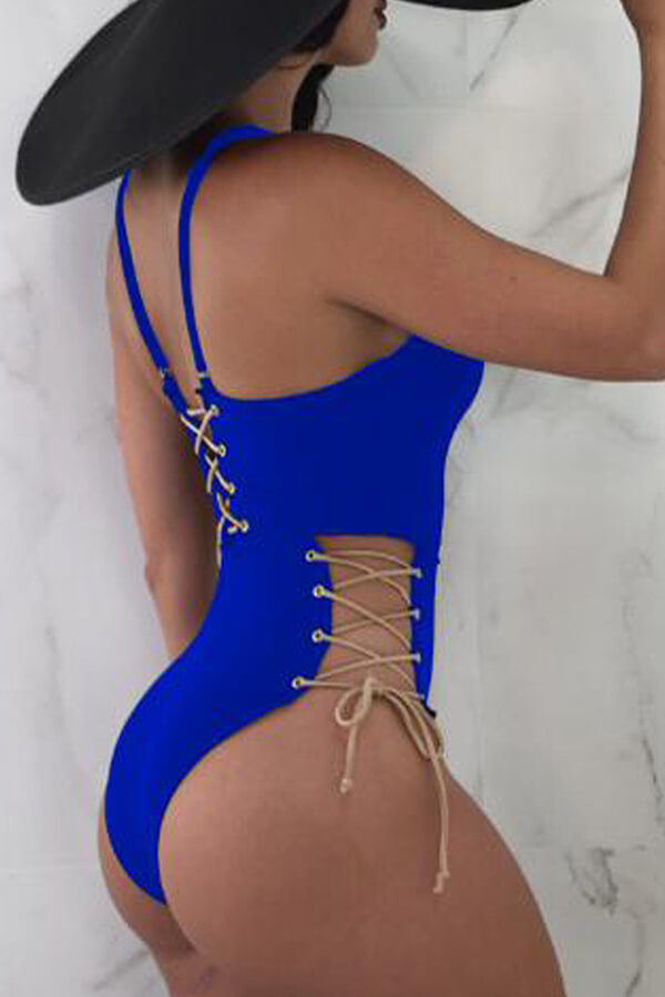Lovely Chic Lace-up Blue Polyester One-piece Swimwears
