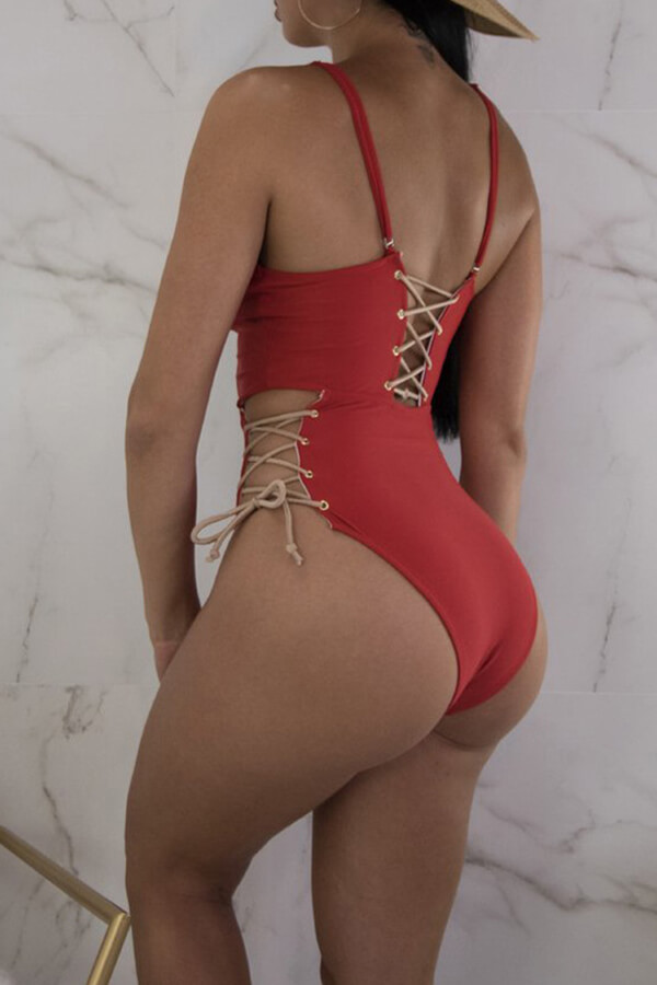 Lovely Chic Lace-up Red Polyester One-piece Swimwears