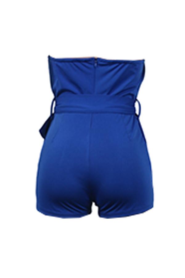 Lovely Sexy V Neck Backless Royalblue Polyester One-piece Jumpsuits
