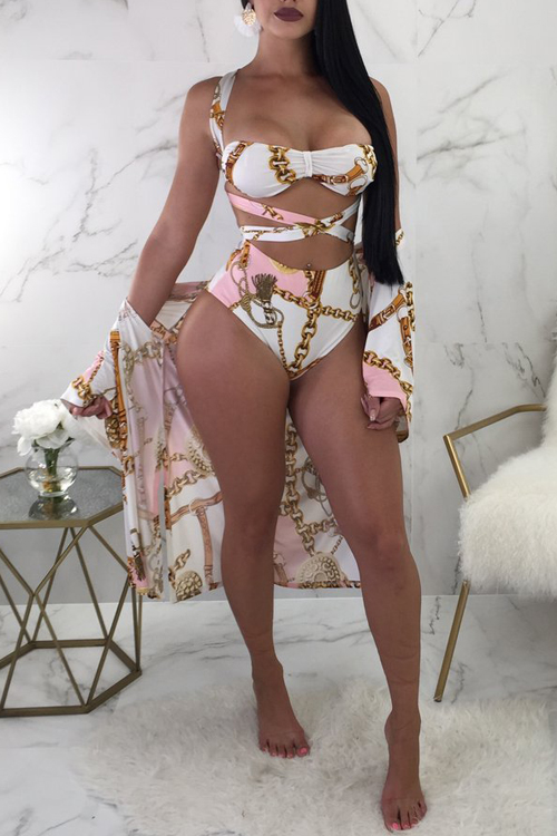 LovelySexy Printed Hollow-out White Polyester Three-piece Swimwear