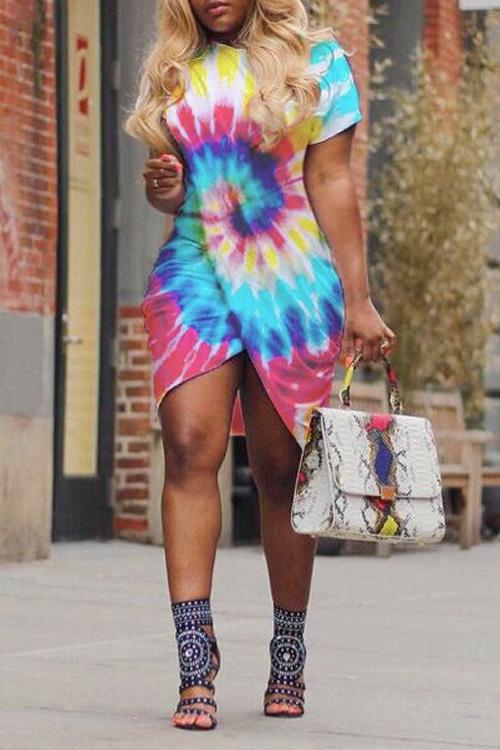 Lovely Polyester Casual O neck  Short Sleeve Bud Mini Dresses