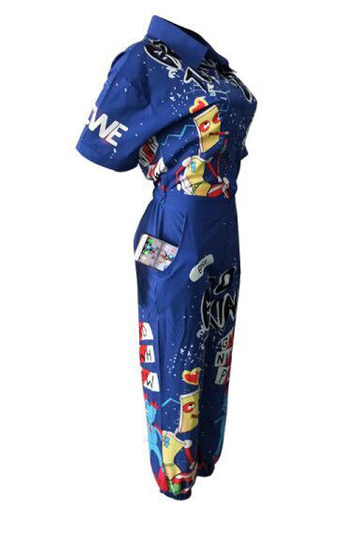 LovelyEuramerican Cartoon Printing Blue Polyester One-piece Jumpsuits