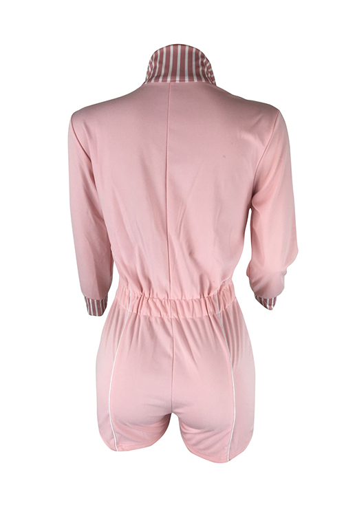 Lovely Casual Turndown Collar Patchwork Pink Cotton Blends One-piece Rompers