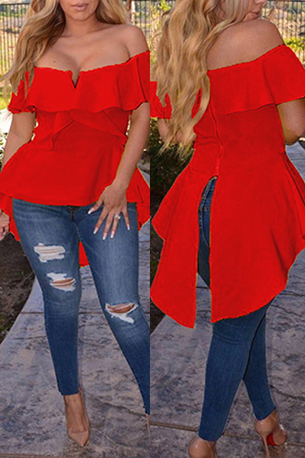 Lovely Street Bateau Neck Flounce Irregular Red Blending Shirts