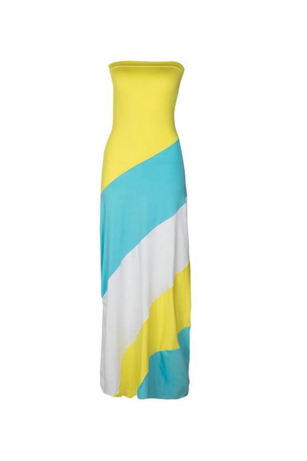 LovelyFashion Bateau Neck Patchwork Yellow Polyester Floor Length Dress