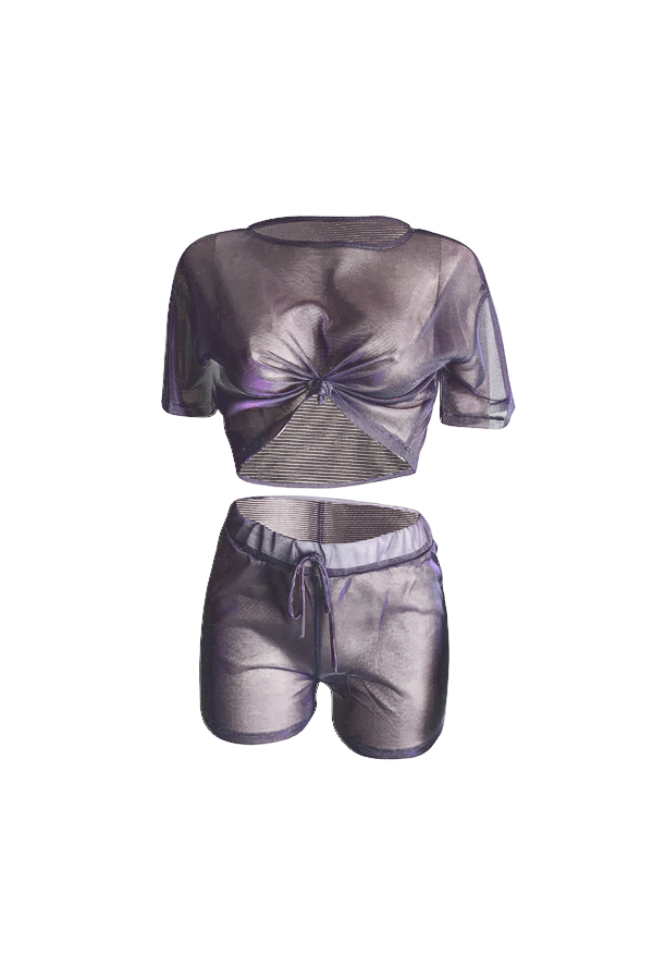 LovelyCasual Round Neck See-Through Purple Polyester Two-piece Shorts Set(Without Subcoating)
