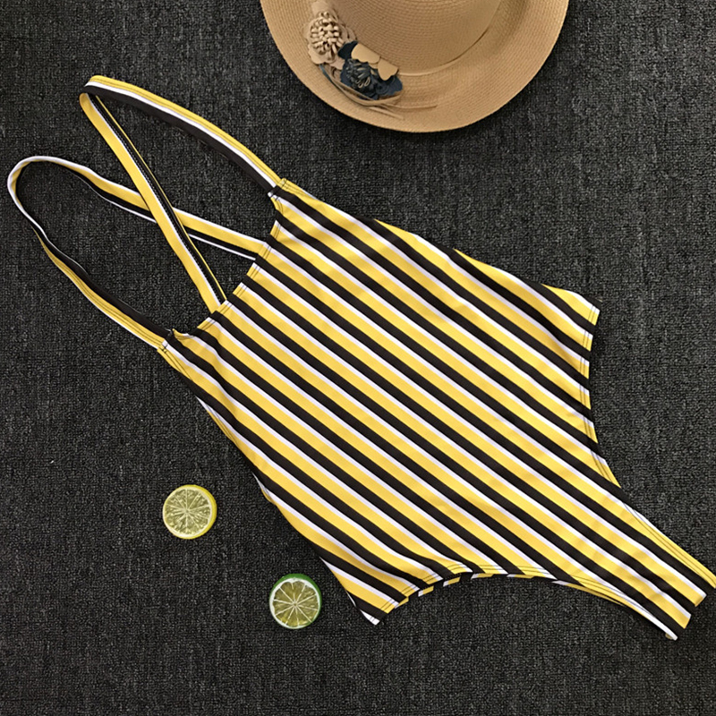 Lovely Fashion Striped Yellow Polyester One-piece Swimwears
