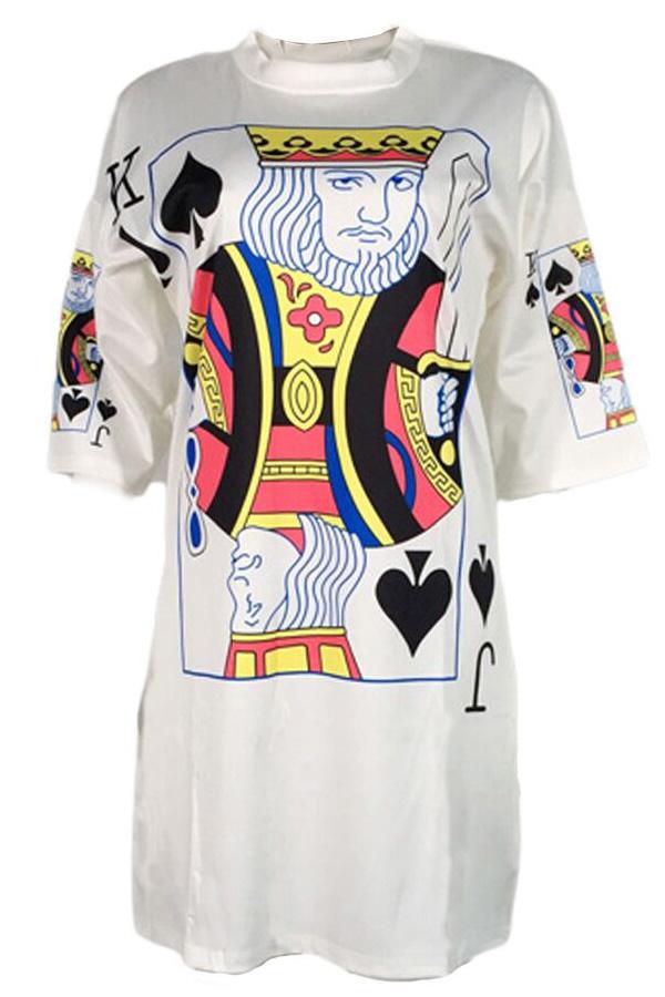 Lovely Euramerican Round Neck Printed White Polyester Mini Dress