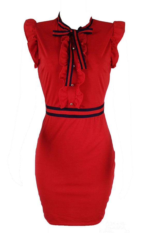LovelyFashion Round Neck Ruffle Design Red Blending Sheath Knee Length Dress
