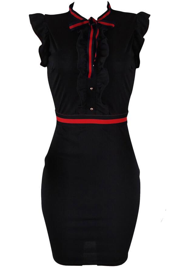 LovelyFashion Round Neck Ruffle Design Black Blending Sheath Knee Length Dress