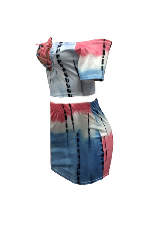 LovelyMulti Twilled Satin Skirt Print Bateau Neck Short Sleeve Sexy Two Pieces