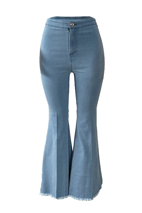 Lovelytrendy Cintura Alta Acampanada Bebé Azul Denim Con Cremallera Jeans