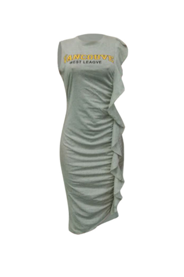LovelyCasual Round Neck Letters Printed Ruffle Grey Cotton Knee Length Dress