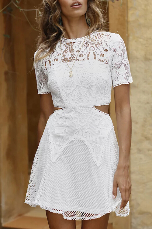 Lovely Fashion Round Neck Hollow-out White Lace Mini Dress