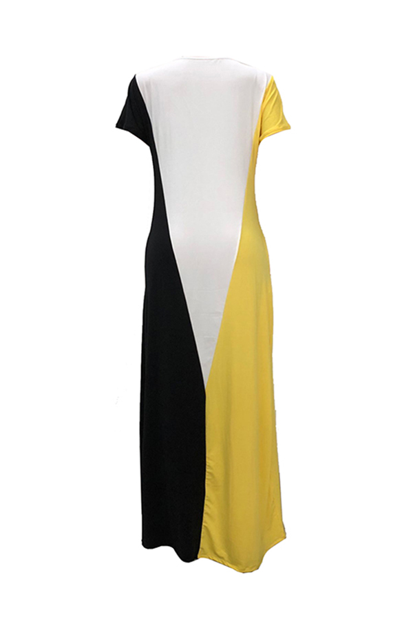 LovelyCasual Short Sleeves Patchwork Yellow Cotton Blend Floor Length Dress