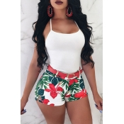 Lovely Fashion Printed Red Polyester Shorts