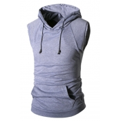 Lovely Casual Hooded Collar Light Grey Cotton Blen