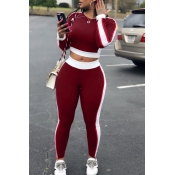 LovelyLeisure Round Neck Patchwork Wine Red Polyester Two-piece Pants Set