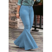 Lovely Trendy High Waist Flared Baby Blue Denim Zi