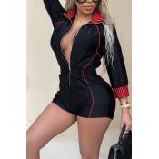 LovelyEuramerican Turndown Collar Patchwork Black Cotton Blends One-piece Short Jumpsuits