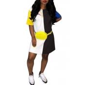 Lovely Leisure Round Neck Patchwork Black Blending Mini Dress