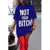 Lovely Casual Round Neck Letters Printed Blue Cotton Blend Mini Dress