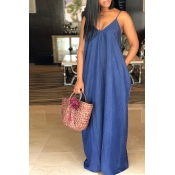 Lovely Fashion V Neck Deep Blue Denim Floor Length Dress