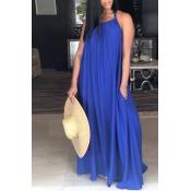 Lovely Leisure Halter Neck Backless BluePolyester Floor Length Dress