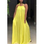 Lovely Leisure Halter Neck Backless Yellow Polyester Floor Length Dress