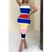 Lovely Fashion Bateau Neck Colorful Striped Royalb