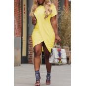 LovelyPolyester Casual O neck Cap Sleeve Short Sleeve Straight Mini Dresses
