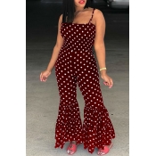 Lovely Trendy Dew Shoulder Polka Dot  Printed Tiered Ruffle Wine Red Blending One-piece Jumpsuits